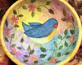Spring Folk Art Painting Whimsical Style Wooden Bowl - MADE TO ORDER - Bluebird and Apple Blossoms, Colorful Pink Blue Yellow Lavender