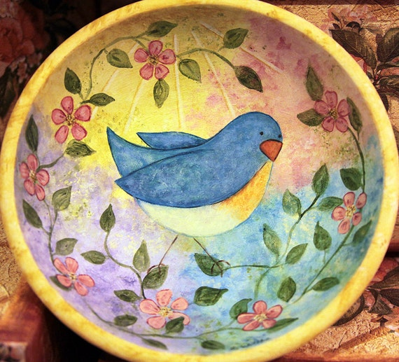 Bluebird and Blossoms Spring Folk Art Painted Wood Bowl Multicolored Pastels Pink Blue Yellow Lavender Whimsical Country MADE TO ORDER