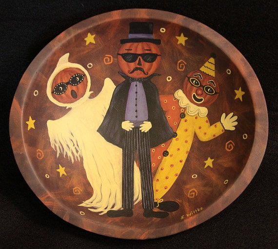 "Halloween Folk Art  Hand Painted Wooden Bowl ""Three Silly Pumpkinheads"" Ghost, Clown, Count HAGUILD"