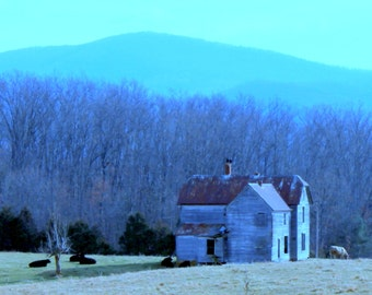 Old Farmhouse in the Shenandoah Valley and the Blue Ridge Mountains of VA--8 x 10 fine art print, signed