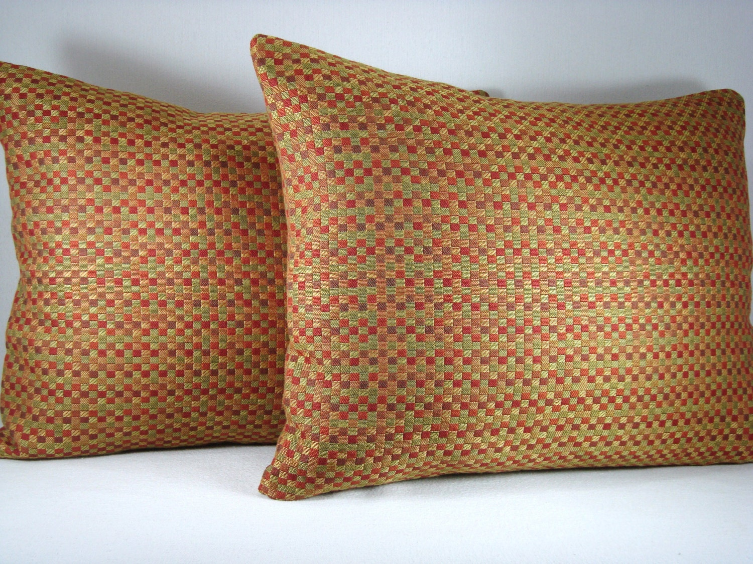 Decorative pillow lumbar pillow accent pillow woven check for Designer accent pillows