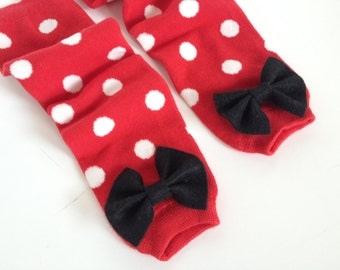 Valentine's Day Baby Leg Warmers Red and White Polka Dot With Bow