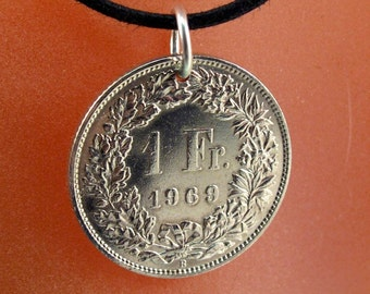 SWISS FRANC. coin necklace. switzerland  charm. coin . helvetia. Zurich. sking alps.  partsforyou Cecile Stewart   No.001314