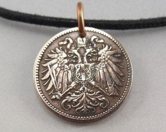 AUSTRIAN COIN NECKLACE Austria  jewelry. heller antique coin Pendant. coin fob . austria charm.   No.00989