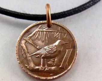 SONGBIRD  necklace. CAYMAN ISLAND  necklace . bird coin charm.  thrush jewelry. vintage No.001202