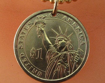 STATUE of LIBERTY necklace - usa charm.  coin necklace. . mens necklace. United States  No.001657