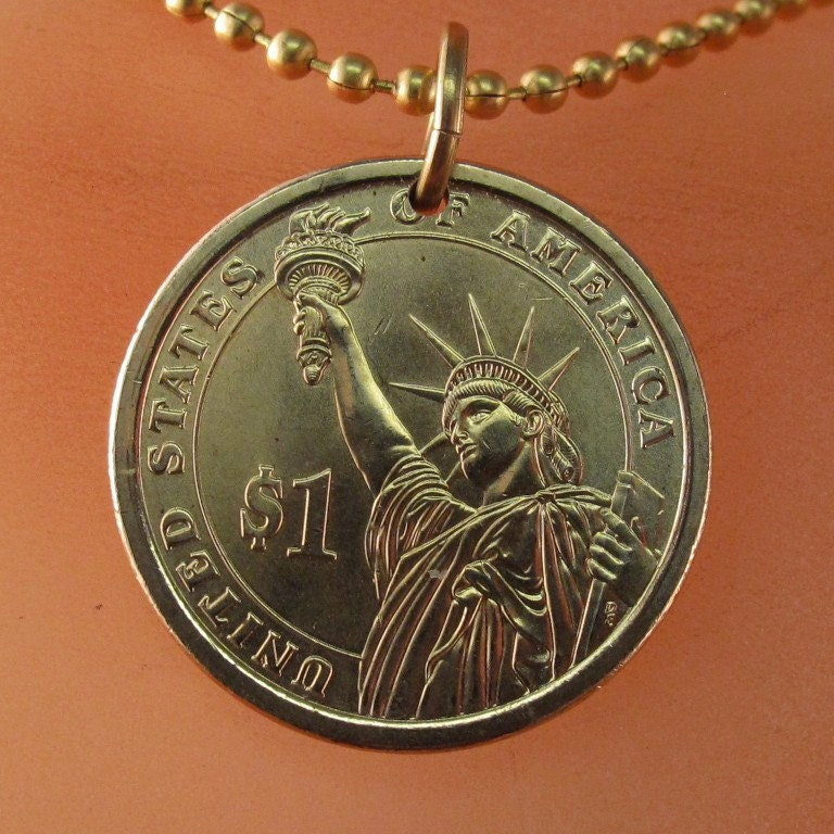 STATUE Of LIBERTY Necklace Usa Charm. Coin Necklace. . Mens