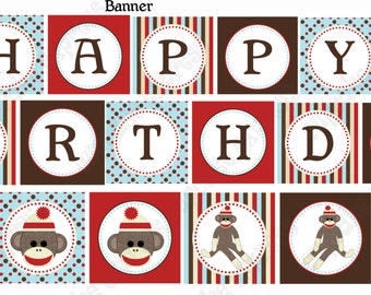 INSTANT DOWNLOAD diy  Sock Monkey Birthday PRINTABLE Banner Sign red brown door sign happy birthday - Cupcake Express