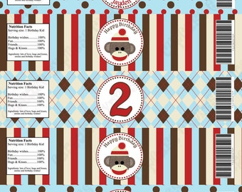 DIY Sock Monkey red brown Light Blue Printable Party Water Bottle Labels wraps Personalized - Cupcake Express