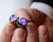 Violet Nebula Cuff Links - Wanderlust Collection -  Galaxy, Universe, Outer Space