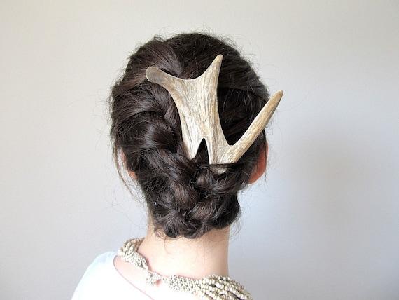 Hair Comb Elk Deer Antler Bone Bridal Fork Stick Unique High Fashion Horn Accessory