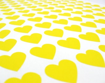 "Mini Yellow Heart Stickers - Set of 108, 3/4"" x 3/4"""