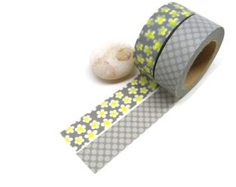Gray Washi Tape, Daisy Washi Tape, Floral Washi Tape