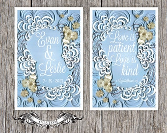wedding keepsake print and Inspirational quote poster set, Custom Names/Dates print, quilled border, script typography, Paper art print