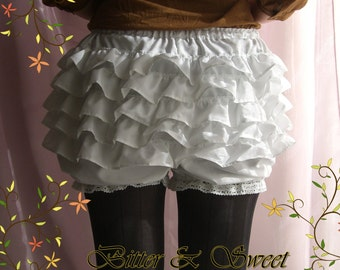 White short bloomers S-M-L-XL -Lolita -Steampunk -Burlesque -Belle Epoque -Neo Victorian -Can Can -Wester -Circo -Ruffles -(Bitter & Sweet)