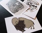 Woodland Animal Postcard set of 3 (Owl, Bison, Bear)