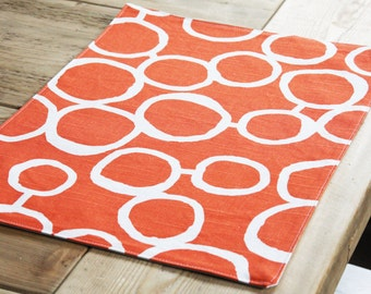 Cotton Handmade Placemats  - Free Hand Circles - Set of 2 - Additional Colors available