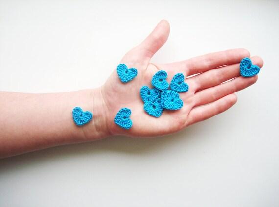 Crochet Heart Appliques, Turquoise Blue, Set of 10 ...