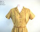 Vintage 50s Honey Mustard Shirtwaist by Toni Hunt