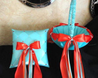 Flower Girl Basket & Ring Bearer Pillow Turquoise Blue, Orange, Wedding, Custom made to your Colors with Swarovski Crystals