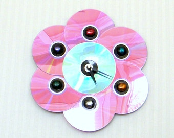 Wall Clock 1960's Retro Upcycled CD Bubble Flower Clock