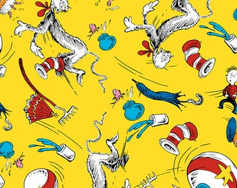 Robert Kaufman - Seuss - The Cat in the Hat C3 Fun House Sunshine  - 1 Yd Shannon Fabrics
