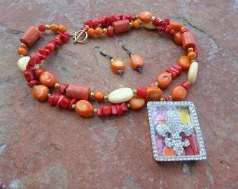 Flure de Les Pendant Necklace and Earrings Set