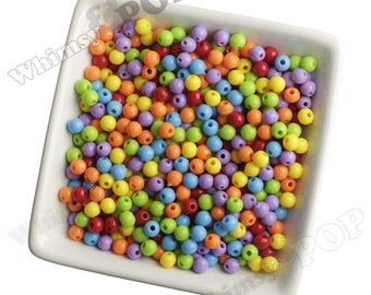 6mm - 100 PACK of  Mixed Colors Acrylic Round Beads,  Mini Gumball Beads, 6mm Beads, 1mm Hole