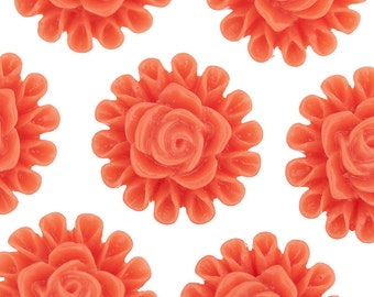 Blood Orange Flower Cabochons, Flower Cabs, Flower Flatbacks, Flower Shaped, 13.5mm (R5-123)
