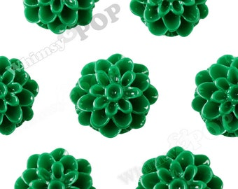 10 - Grass Green Chrysanthemum Flower Resin Cabochons, Mum Shaped, 13mm (R4-029)