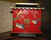 Japanese Red Lacquer Jewelry Box with original box