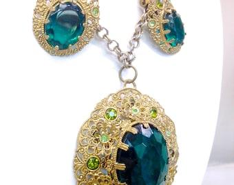 Beautiful 1940 West German Emerald  & Peridot Green Crystal in Gilded Brass Filigree Lavaliere Necklace Earrings Parure Set