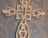 Fancy Fretwork Cross in Natural Aspen