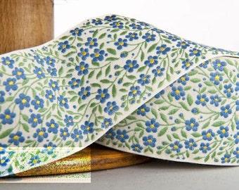 Forget-Me-Not Ribbon, wide - Ecru/Green/Blue/Yellow (1 meter, (Item:100268-02-100)