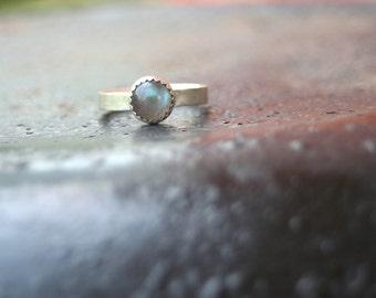 Labradorite Serrated Bezel Setting Thin Comfort Fit Band Matte Finish Sterling Silver Ring Size 7