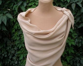 Gorgeous Silk Scarf Vintage / Beige