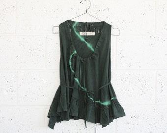 Summer Sale ,Green Tie-Dye Ruffle Shirt