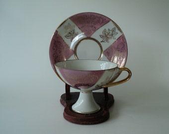 Vintage Tea Cup Pink Pearl Pedestal Teacup and Saucer