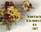 Pansies, Salvation, Biblical, Religious, Scripture, 1 John 1:7, Jesus Christ, Christian, Digital Download, Printable