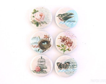 Vintage Nature - Set of 6 Flair Buttons