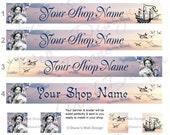 Dreamy Etsy Banner Avatar - Romantic French Woman Lavender Sky - Customized with Your Shop Name