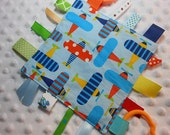 "Ready, Set, Go Airplanes 8"" Crinkle Crackle Ribbon Sensory Minky Toy"