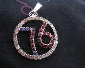 1970s swarovski rhinestone pendant. says 76. Biecentennal sparkling piece. 1.5 inch diameter. old stock. SO retro and wonderful