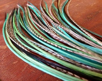 Green Feather Extensions XL - Shamrock Fields - Green, Teal, Grey Grizzly LONG Hair Feathers 9-12inch Bonded Feather Hair Extension