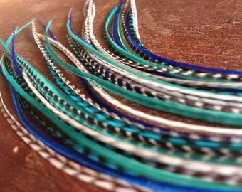Feather Hair Extension, True Blue Turquoise Bundle Of 5 Bonded Long Rooster Feathers, Turquoise Grizzly Hair Feather Extensions