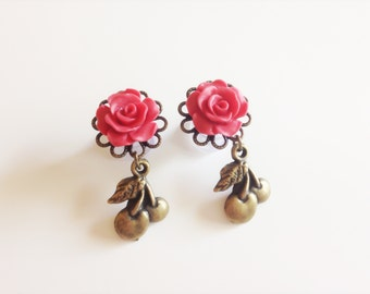 2g Dangle Plugs 4g Rose Plugs 6g 0g Cherry Ear Plugs, 24 Rose Colors Gauged Earrings With Dangles Acrylic/Steel/Wood Sold in Pairs