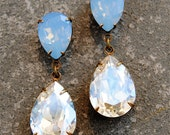 Powder Blue Opal Moonlight Pear Rhinestone Earrings Swarovski Crystal Earrings Pastel Tear Drop Rhinestone Dangle Earrings Duchess Mashugana