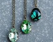 Emerald Green Necklace Swarovski Crystal Pendant Necklace Bridesmaid Swarovski Crystal Mint Peridot Emerald Necklace Mashugana
