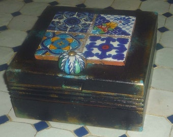 Moroccan inspired Box with tiles, keepsake box,jewelry box, wedding gift