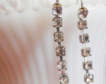 Vintage Clear Rhinestone Dangle Silver Earrings